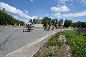 Radfahrer in der Kurve