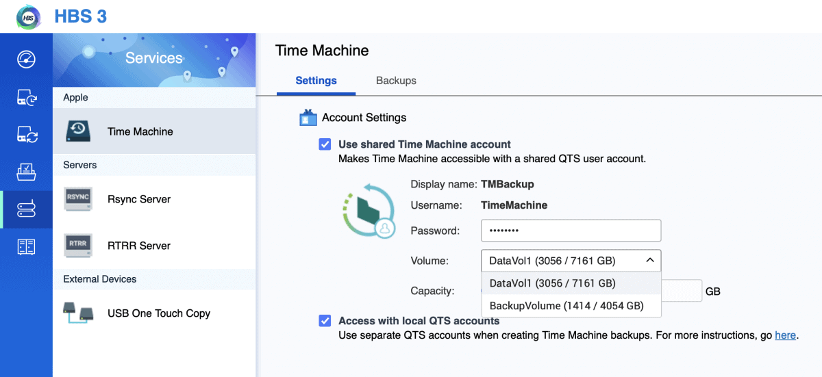 Qnap Time Machine Backup Volume ändern