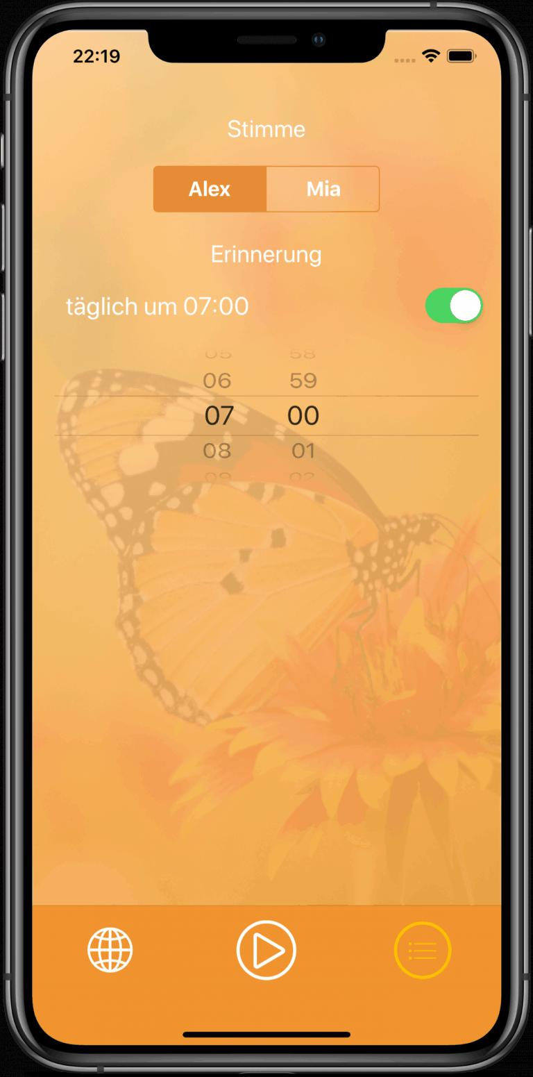 Bauchhypnose App Einstellungen Screenshot